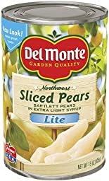 Del Monte Sliced Pears Bartlett Pears in Extra Light Syrup, 15-Ounce (Pack of 24)