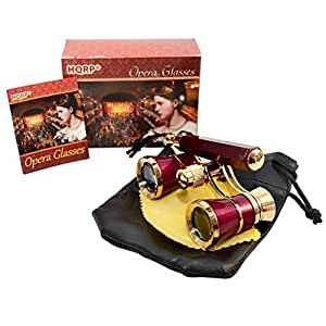 HQRP 3 x 25 Opera Glass Binocular w/ Built-In Extendable Handle / Burgundy with Gold Trim