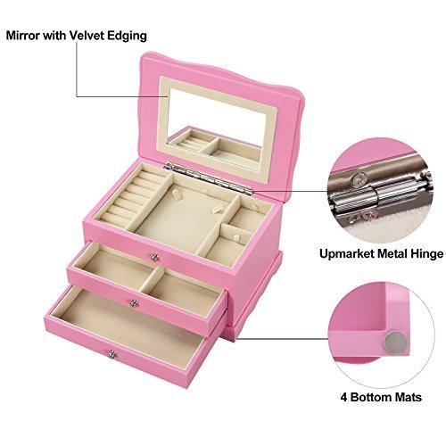 Songmics Pink Wooden Jewelry Box Girls Storage Organizer Case W Drawer Mirror Ujow03p