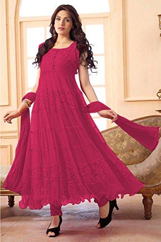 Ninecolours Net Semi Stitched Anarkali Salwar Kameez in Dark Pink Colour