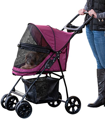Pet Gear Happy Trails Lite No-Zip Pet Stroller, Boysenberry
