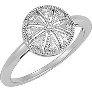 IceCarats Designer Jewelry Sterling Silver .04 Ct Tw Diamond Ring. Size 7.00 .04 Ct Tw Diamond Ring In Sterling Silver Size 7.00