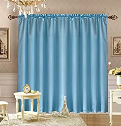 Octorose ® Royalty Custom Waterfall Window Valance and Swags & Tails (Blue, pair of curtain(118x84inch))