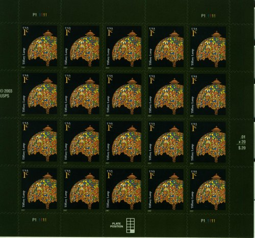 Tiffany Lamp Pane 20 x 1 Cent US Postage stamps