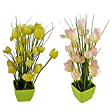 Thefancymart Artificial Tulip Flower Plant With PVC Pot_set Of 2 Style Code-78