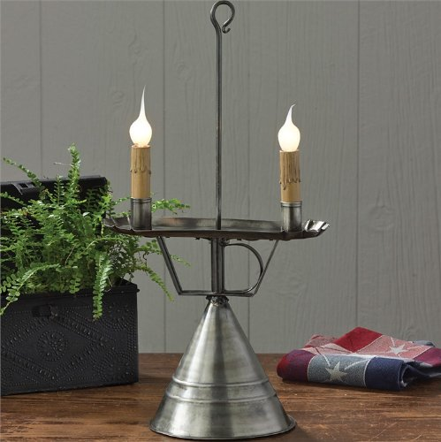 Antique Style Handmade Tin Look Double Taper Candle Holder Electric Lamp Country Primitive Home Décor