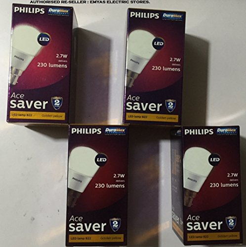 Ace Saver 2.7W 230 L B22 LED Bulb (Warm White, Pack of 4)