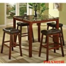 Roundhill Furniture Sable 5-Piece Artificial Marble Top Counter Height Pub Set with Table and 4 Stools