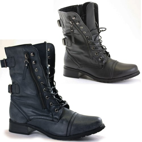 Simple Womens Combat Style Army Worker Military Ankle Boots Flat Punk Goth