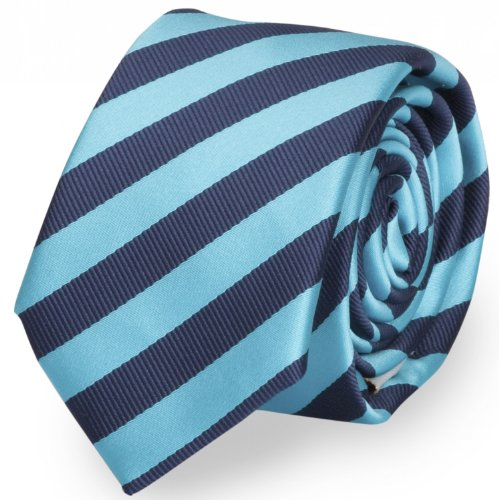 schmale krawatte von fabio farini blau gestreift. Black Bedroom Furniture Sets. Home Design Ideas
