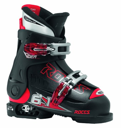 Roces Idea 16-18.5 Childrens Adjustable Ski Shoes - 25-29, Black (Black Red)