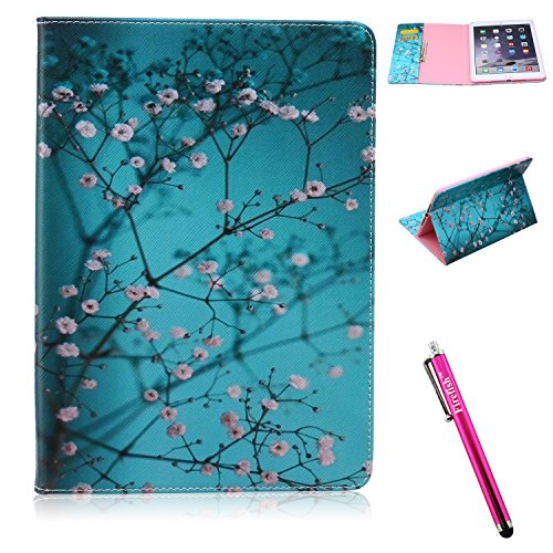 iPad Air 2 Case, Firefish iPad Air 2 Cover [Kickstand] [Bumper] Case Flip PU Leather Wallet with Card Slot Magnetic Closure Protect for Apple iPad Air 2 - Blue Flower (Ipad Air 2 64 Gig compare prices)