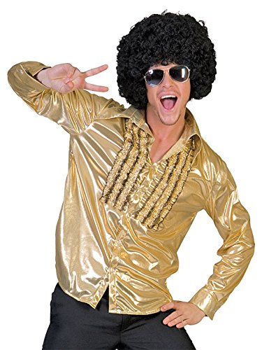 Shimmering Gold Shirt with Front Ruffle Detail Mens 70s Theater Costume