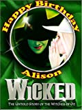A4 Wicked The Musical Edible Icing Birthday Cake Topper