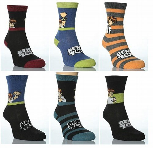 Childrens/Kids Boys Ben 10 Socks, Character Socks (Pack of 3)