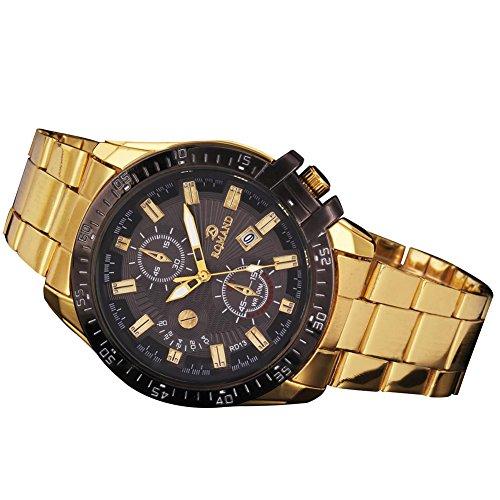 Black Bezel Men orologio, Kwock® oro orologio dell'acciaio inossidabile, lusso quarzo orologio sportivo 2016