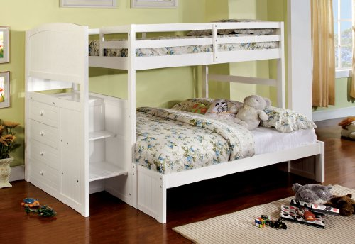 White Bunk Bed Twin Over Full 8392 front
