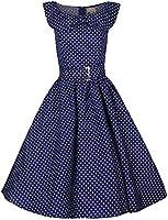 Lindy Bop �Hetty� : Vintage 1950's Robe Rouge a Pois Avec Col Chale. Style Rockabilly Pour Dansante Soiree