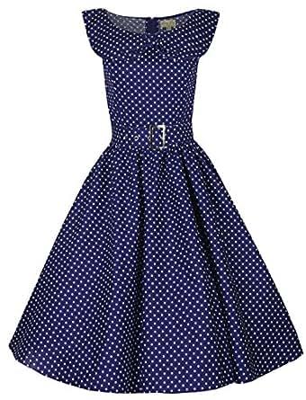 Lindy Bop 'Hetty' : Vintage 1950's Robe Bleu de Marine a Pois Avec Col Chale. Style Rockabilly Pour Dansante Soiree. Taille 36/XS/UK8