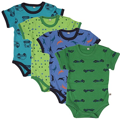 Pippi - Body Ss Ao-Printed (4-Pack), Short sleeve da bimbo, blu (blue  (dark navy)), 2 anni (92 cm)