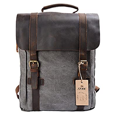 S-ZONE Unisex Vintage Canvas Genuine Leather Travel School Bags 15.6 Laptop Backpack Rucksack Daypack
