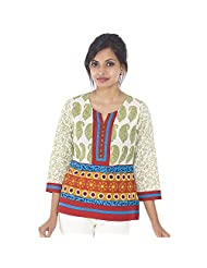 Parinita Women Green Cotton Printed Short Top