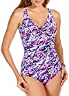 Paradise Bay Womens Snow Leopard Shirred Swimsuit 14 Purple multi
