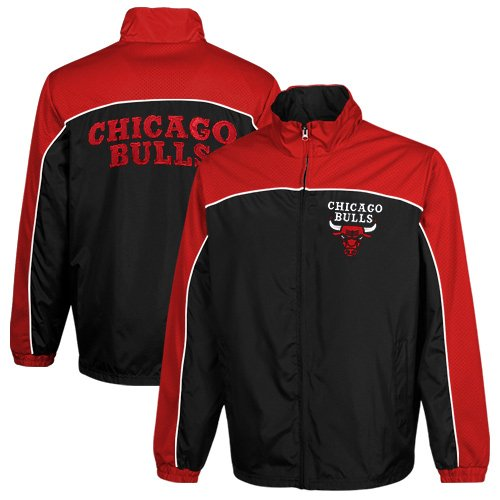 NBA Chicago Bulls Blitz Full Zip Windbreaker Jacket - Black/Red (Large) at Amazon.com