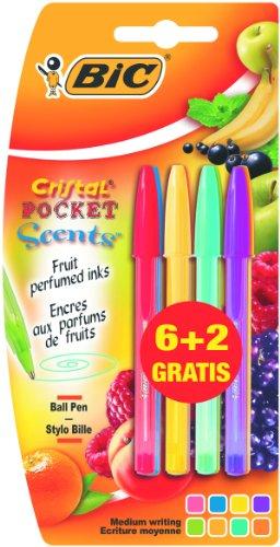 """BIC - Penne """"Cristal Pocket Scents"""", con inchiostro profumato, 8 pezzi"""