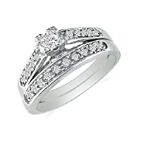 1/4ct Classic Diamond Bridal Set in 10k White Gold (SI2-I1 and I-J)