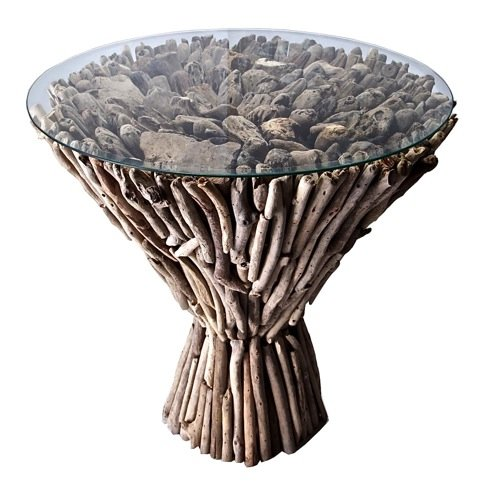 Buy Low Price Square Driftwood Coffee Table Shore With Glass Top 20 Inches Square B005wl8stw