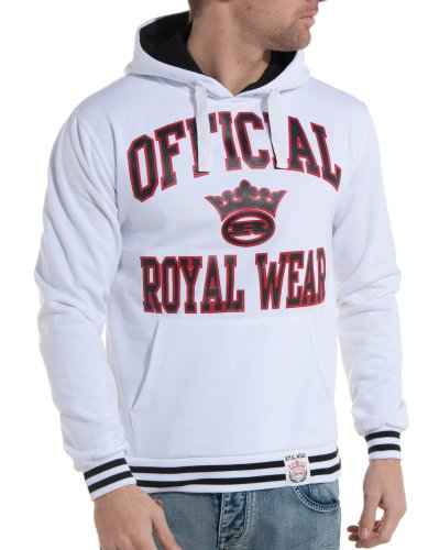 Royal Wear - Hooded sweatshirt white man fashion and trend - Color: White Size: L