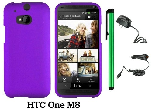 Htc One (M8) Solid Plain Color Hard Protector Cover Case (For 2014 Htc New Flagship Android Phone; Carrier: Verizon, At&T, T-Mobile, Sprint) + Travel (Wall) Charger & Car Charger + 1 Of New Assorted Color Metal Stylus Touch Screen Pen (Purple)