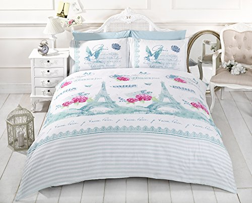 Juliette Full Teal Paris Tower Cotton Blend Comforter Cover #Ellebal *Rh* front-228922