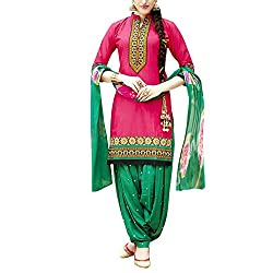 Apple Creation Pink Embroiered Dress Material With Matching Dupatta