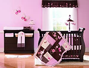 Carter's Butterfly Flowers 4 Piece Crib Set, Pink/Choc