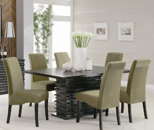 Casual Dining Room Sets 7pc Dining Table And Parson Chairs Set In