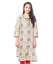 Lal Chhadi Women's Beige color 3/4 Sleeve Cotton Kurta with Round neck