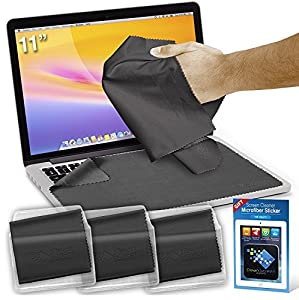 Clean Screen Wizard Microfiber Screen Cleaner and Protector Kit Bundle with 3 Large Cloths / Keyboard Covers in Protective Pouches and Cleaning Sticker for Laptops - Tablet Screen