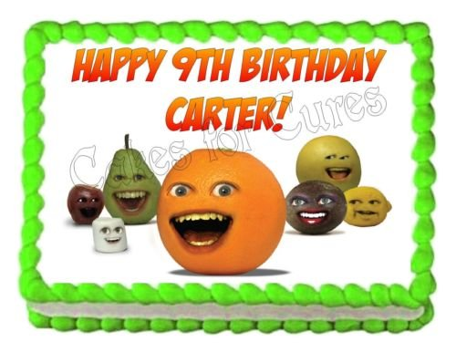 [ANNOYING ORANGE edible party cake decoration topper cake image sheet] (Annoying Orange Kids Costumes)