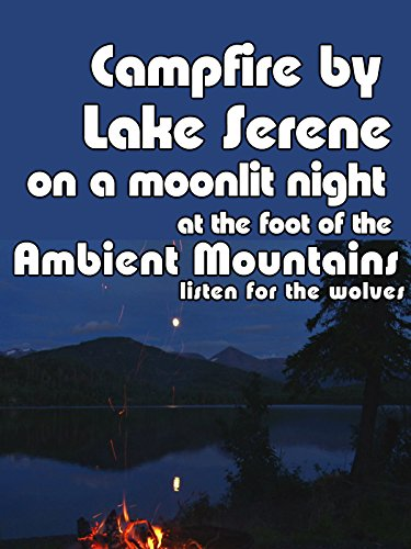 Campfire by lake serene on a moonlit night at the foot of ambient mountain listen for the wolves