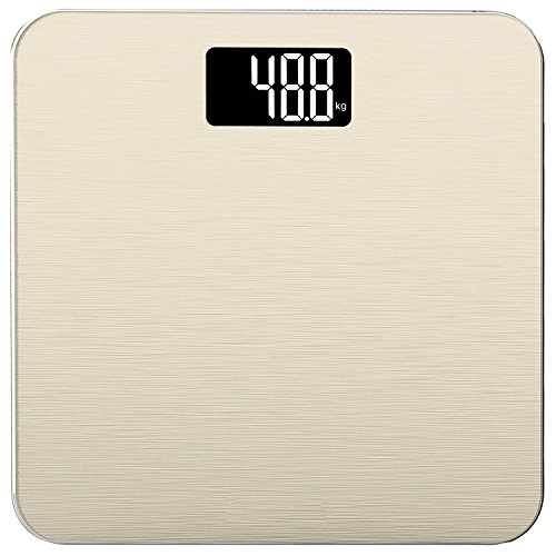 Smart Weigh 400lb / 180kg Electronic Bathroom Scale with Sleek Tempered Glass Platform, Advanced Step-On Technology and Large Easy Read Backlit LCD Display (Gold)