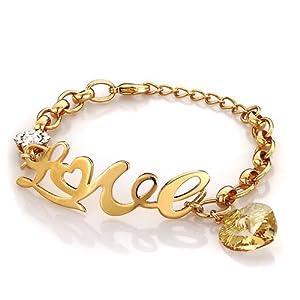 Pugster November Birthstone Gold Love Golden Swarovski Elements Crystal Adjustable Lobster Clasp Bracelet For Women