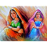 "Rajasthani Women Indian Poster/ Art Of India : Reprint On Paper (Unframed : Size -20""X 16"" Inches)"
