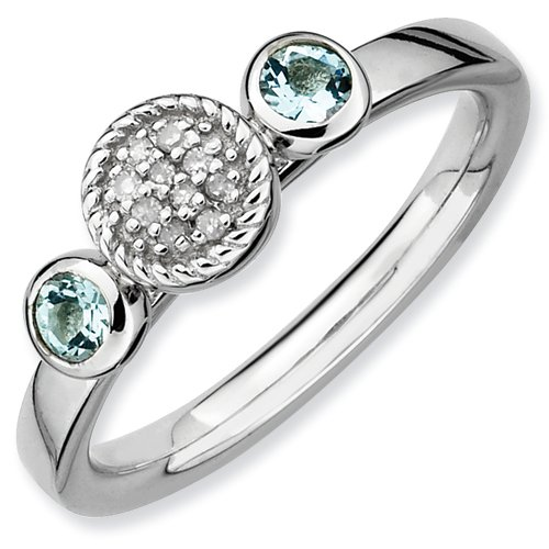 Sterling Silver Stackable Expressions Db Round Aquamarine & Dia. Ring (Size 10)