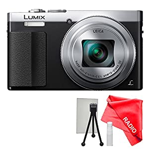 Panasonic Lumix DMC-ZS50 Digital Camera Silver with Lens Cleaning kit, LCD Screen Protector and Table Top Tripod ( White Box packaging, no retail Box)