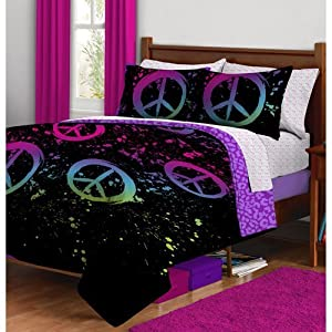 Girl Black Purple Pink Peace Sign Leopard Twin XL Dorm College Comforter Set (5pc Bed in a Bag)