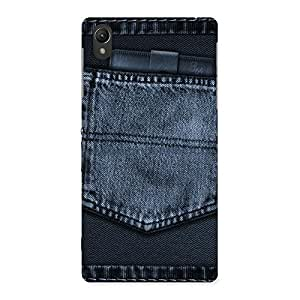 Delighted Navy Jeans Pocket Back Case Cover for Sony Xperia Z2