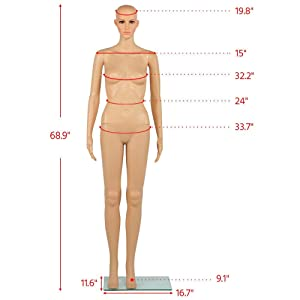 Yaheetech 68.9 inches Female Mannequin Adjustable Detachable Plastic Full Body Mannequin Dress Form w/Base (Color: As the pictures show, Tamaño: 68.9)