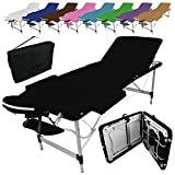 Linxor France  Table de massage pliante 3 zones en aluminium + accessoires et housse de transport - Neuf coloris - Norme CE